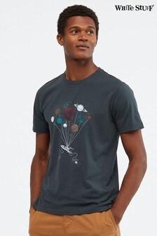 White Stuff Bio-T-Shirt mit Weltall-Grafik, Blau