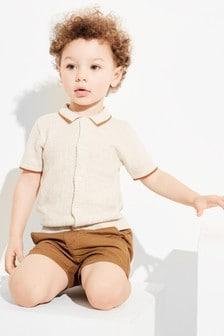 Knitted Button Through Polo (3mths-7yrs)