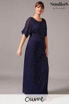 שמלת מקסי שלStudio8 דגםDonnatella בצבע כחול עם חרוזים