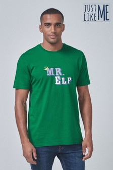 Mens Matching Family Elf Graphic T-Shirt