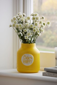 Yellow Bee Happy Vase