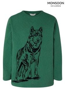 Monsoon Wolf Bio-T-Shirt, Grün