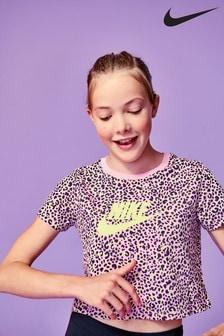 חולצת טי קרופ של Nike בהדפס מנומר
