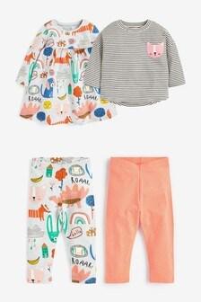 4 Pack Dress, T-Shirt And Leggings Set (3 мес.-7 лет)