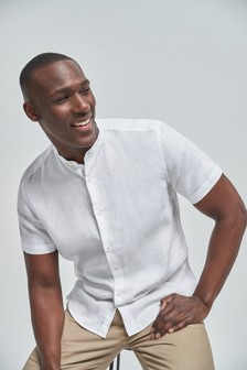 Linen Grandad Collar Short Sleeve Shirt