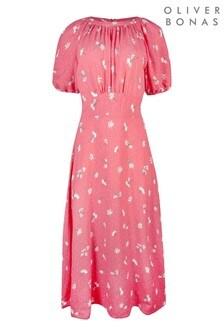 שמלת מידי עם הדפס של Oliver Bonas דגם Daisy באדום