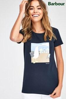 Barbour® Coastal Orla T-Shirt mit Seemöwen-Muster, Marineblau