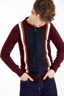 Knitted Vertical Stripe Zip Through Polo (3-16yrs)