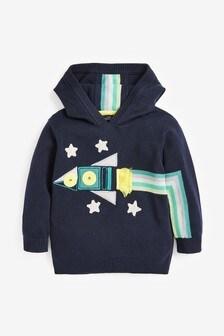 Kapuzensweatshirt aus Strick mit Raketenmotiv (3Monate bis 7Jahre)