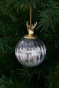 Ribbed Glass Bauble (780021)   $7