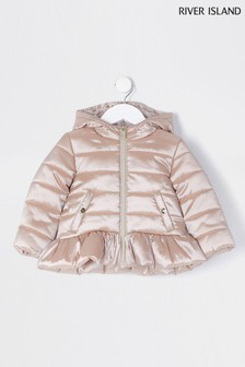 River Island Bronze Lightweight Peplum Padded Jacket