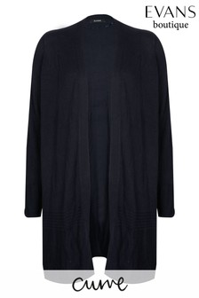 Evans Curve Navy Blue Ribbed Hem Cardigan