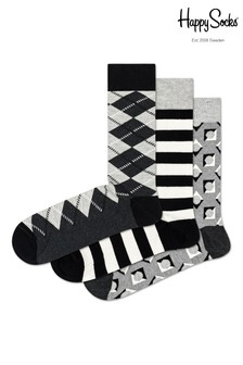 Happy Socks Black Argyle Socks Three Pack