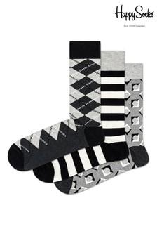Trzy pary czarnych skarpet w romby Happy Socks
