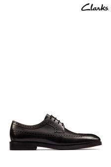 Clarks Black Leather Oliver Wing Shoes