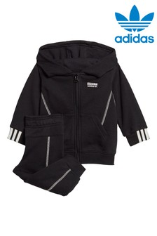 adidas Originals Little Kids Black Zip Through Hoody And Joggers Set