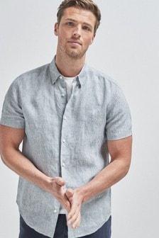 Linen Stripe Short Sleeve Shirt