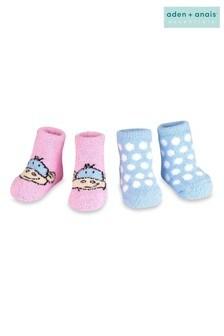 Boîte cadeau aden + anaisavec lot de deux paires de chaussons confortables à pois et motif singe rose