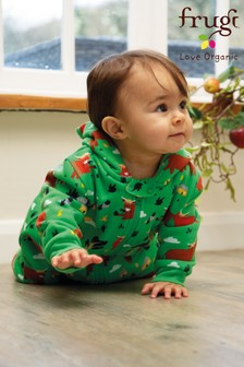 Frugi GOTS Organic Green Highland Cow Zip Snuggle Suit