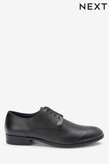 Kožené derby topánky so zaoblenou špičkou