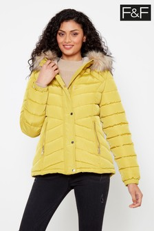 F&F Lime Short Padded Chartreuse Coat