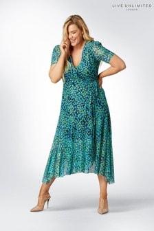 Live Unlimited Blue Aqua Non Print Mesh Wrap Dress