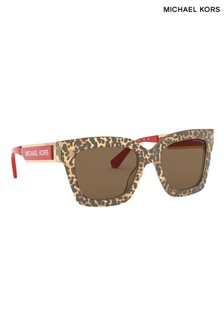 Michael Kors Berkshires Sonnenbrille mit Leopardenmuster