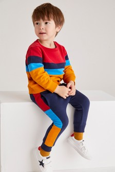 Colourblock Jersey Crew Sweater And Jogger Set (3mths-7yrs)