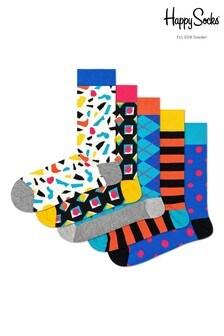 Pack de cinco pares de calcetines en colores blanco y piedra de Happy Socks