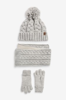 3 Piece Hat, Scarf And Gloves Set (Older)