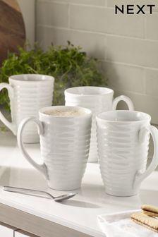 Set of 4 Latte Mugs Malvern Embossed