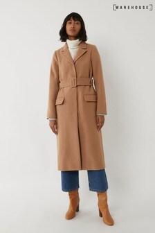 Dlouhý hnědý kabát Warehouse s páskem