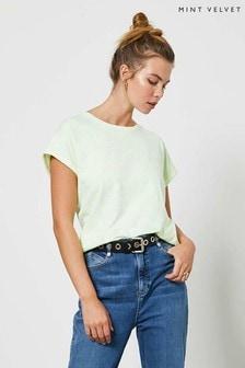 Mint Velvet Neon Green Cotton T-Shirt