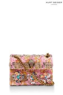 Kurt Geiger London Pink Combination Tweed Mini Kensington Bag