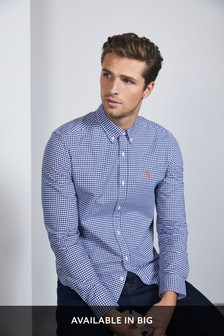 Gingham Long Sleeve Stretch Oxford Shirt