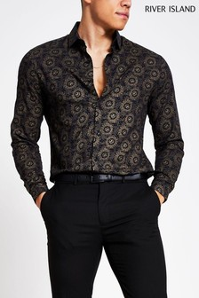 River Island Black/Gold Print Shirt
