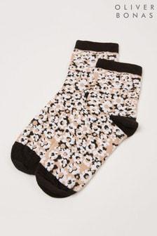 Oliver Bonas Natural Animal Flower Ankle Socks