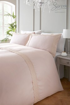 Serene Renaissance Embroidered Edge Duvet Cover and Pillowcase Set