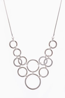 Circle Pave Link Detail Statement Necklace