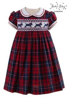 Rachel Riley Red Scottie Dog Smocked Dress