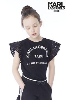 Bluză cu logo Karl Lagerfeld Kids neagră