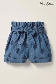 Pantalones cortos de denim con diseño texturizado y cintura anudada de Boden