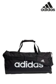 adidas中碼直線黑色旅行包