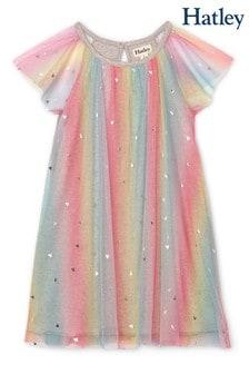 Hatley Pink Metallic Hearts Rainbow Tulle Dress