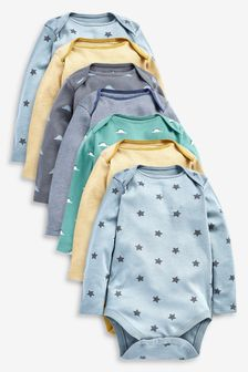 7 Pack Star Stripe Long Sleeve Bodysuits (0mths-3yrs)