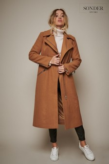 Sonder Studio Camel Longline Wool Biker Coat