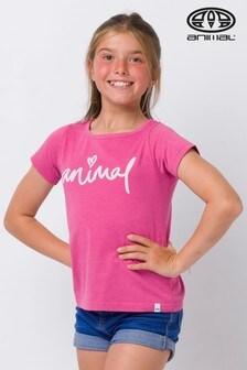 Animal T-Shirt mit Schriftzug, rosa-meliert