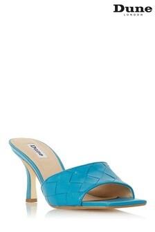 Modré kožené šľapkové sandáles prepletanými remienkami a hranatou špičkou Dune London Montreal