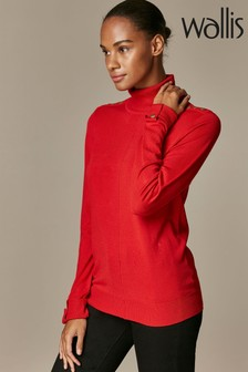 Wallis Red Stud Seam Polo Neck Jumper