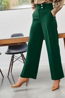 מכנסיים מתרחבים עם כפתור בצבע זהב